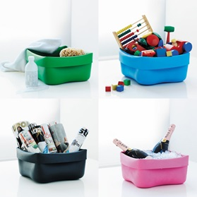 ceci nest pas une four 4 washing bowls green blue pink