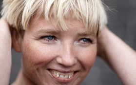 Rikke hagen closeup smiling teeth blond hair face