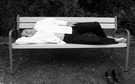 Tom stepp on bench in park sleeping black white