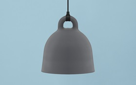 Bell lamp grey blue background