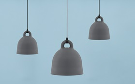 Bell Lamp Grey on Blue