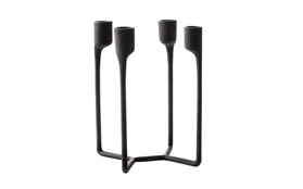 Heima castiron black 4 armed candlestick frontview sideview