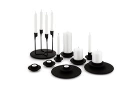 Heima candleholders castiron black all group with white candles