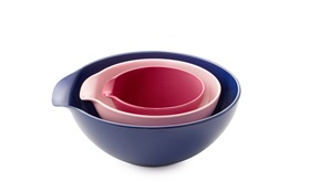 Jensen bowl designed by Ole jensen side view rose pink purple