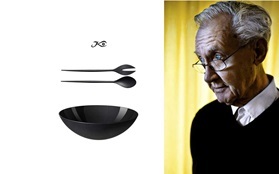 Krenit melamine bowl black with designer with salad set herbert krenchel