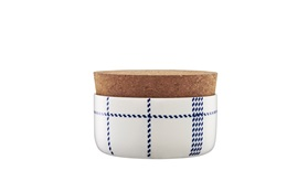 Mormor blue sugar bowl with cork lid frontview