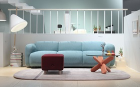 Swell Sofa, Ding Table, Helo Lamp, Sumo Pouf, Oona Carpet at Salone del Mobile in Milano 2013