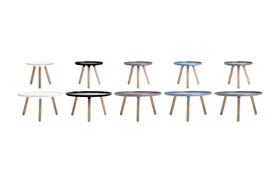 Tablo tables group all sizes sideview white black grey blue on a white background