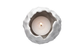 True feelings candleholders white single action function with light topview on white background