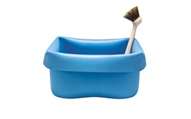 Washing up bowl blue frontview on white background
