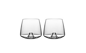 Whiskey glass sideview two glasses on white background