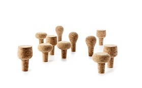 Wine and bar cork stoppers group white background