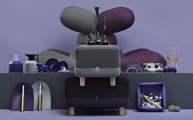 Purple background grey products bunny chairs sumo poufs washing up bowl beater geo thermos dustpan and broom swing vase